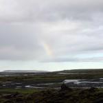 Regenbogen über den unzähligen Wasserläufen der Skafta