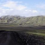 schwarze Piste in grüner Landschaft