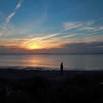 Schaprode, Sonnenuntergang über der Insel Hiddensee