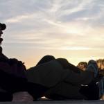 wir genossen den Sonnenuntergang vom Steg aus