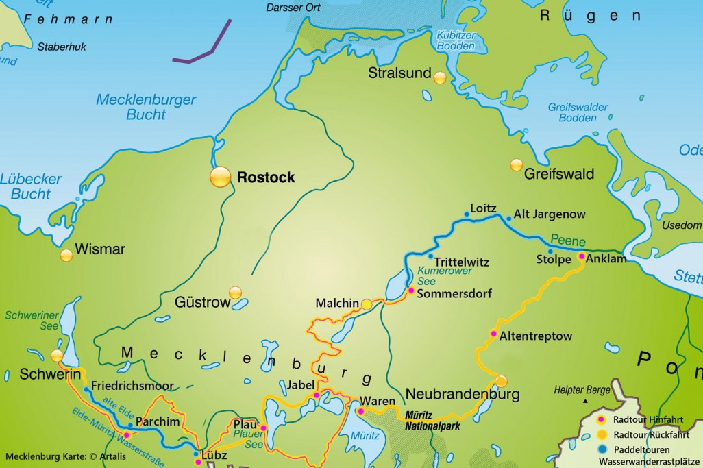Übersichtskarte Peene-Tour durch Mecklenburg Vorpommern