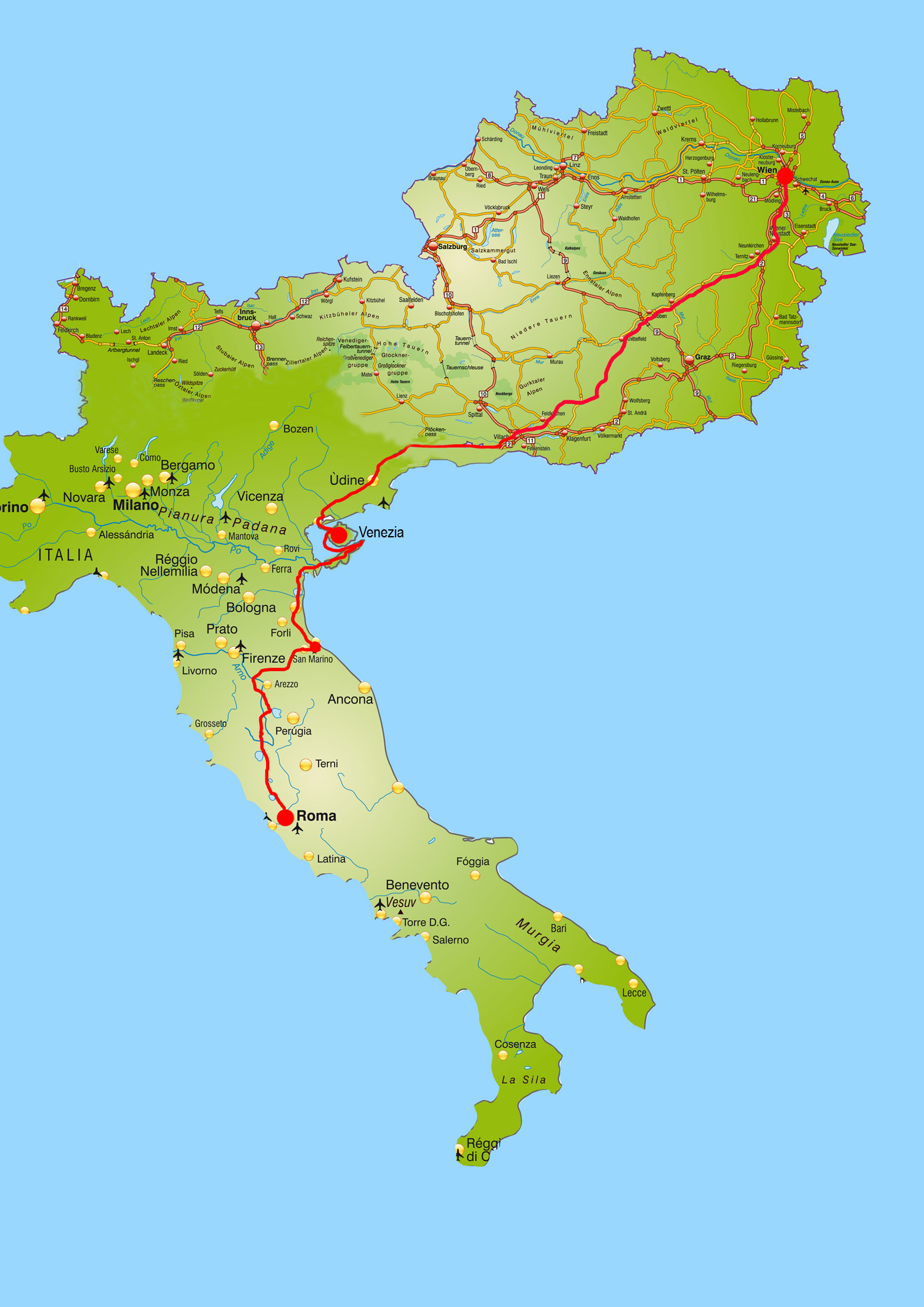 Karte Österreich Italien